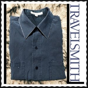 TRAVEL SMITH Men's Blue Casual Shirt